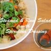 蒸し・生野菜サラダにスピルリナドレッシングをかけてキレイ度アップ!☆スーパーフードレシピ